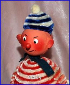 1940's Vtg German Xmas Patriotic Candy Container Bobble Head Skiing Boy Chenille