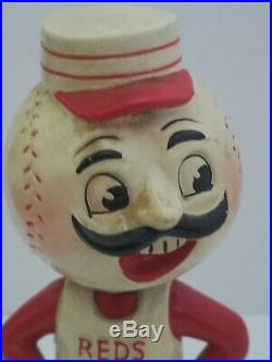 1960's CINCINNATI REDS MASCOT VINTAGE BOBBLE HEAD NODDER GREEN BASE RARE
