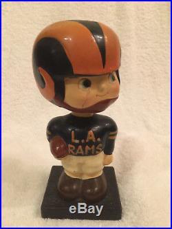 1960's NFL Los Angeles Rams Bobblehead, Nodder, Bobble Head Vintage Wood Base