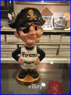 1960's Pittsburgh Pirates Gold Round Vintage Bobble Bobbing Head Doll Ex