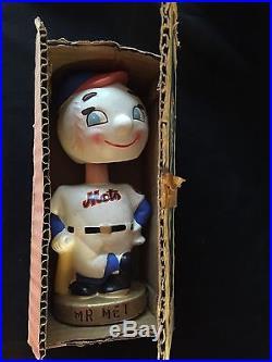 1960's Vintage New York Mets Bobblehead Bank Mr Met With Original Box