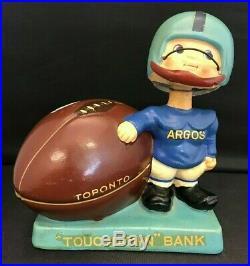 1960s CFL Bobblehead Touchdown Coin Bank Nodder Toronto Argonauts Original Vtg