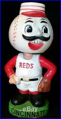 1962 CINCINNATI REDS Bobble Head Nodder Green Base Baseball 60s vtg RARE