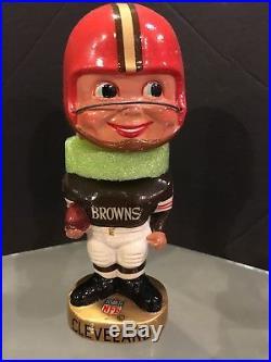 1965-67 Cleveland Browns Vintage Gold Base Bobble Bobbing Head Doll Mint Box
