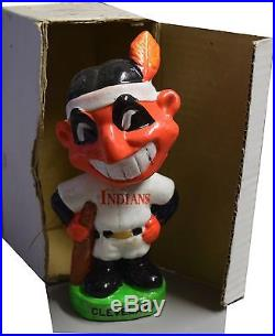 1983 Cleveland Indians Vintage Bobble Head Nodder Green Base Indian Mascot Head