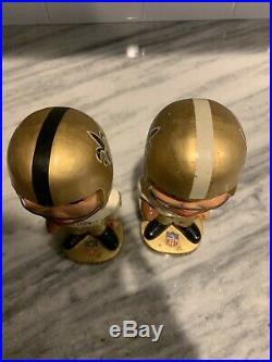 2 Vintage New Orleans Saints Original Bobblehead Nodder Pair 1967 1960s