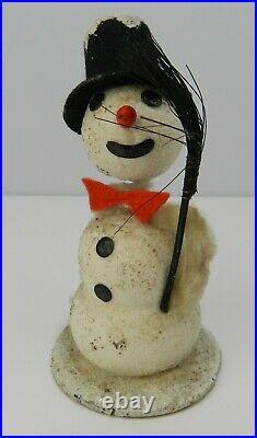 3x VINTAGE BOBBLE HEAD FATHER CHRISTMAS RETRO SANTA SNOWMAN ORNAMENT i73