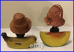 A Pair of Vintage Americana Bobble head Bank Florida Souvenir
