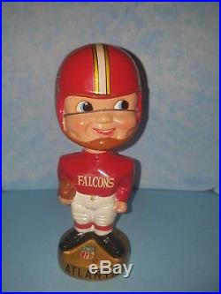 Atlanta Falcons Nodder Bobble Head vintage NFL Round Gold Base with case