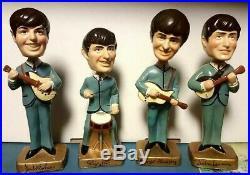 BEATLES Vintage Bobble Head Dolls 1964 CAR MASCOTS Original Set Nodders NR MINT