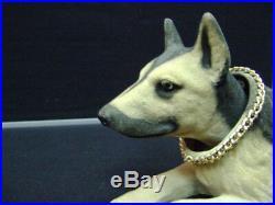BOBBLE HEAD GERMAN SHEPARD DOG GLASS EYES PAPER MACHE NODDER HEAD vintage