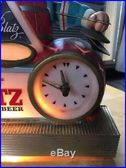 Blatz Beer Sign Lighted Barrel Bobble Head Nodding Clock Motion Bar Vintage 1960
