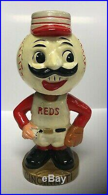 Cincinnati REDS Mascot Vintage Nodder Gold Base Bobblehead Bobbing Bobble Head
