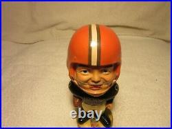 Cleveland Browns Vintage Bobblehead 1968 Gold Base Real Face Nodder NFL