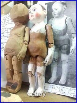 European wooden doll. Bobblehead. Replica