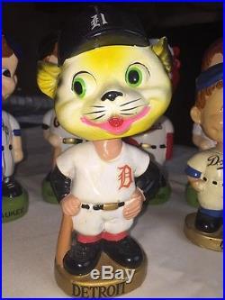 FREE SHIP! Vintage Detroit Tigers BOBBLE HEAD NODDERS Gold Base 60s 70s RARE MLB