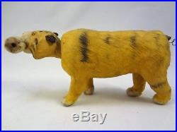 French Glass Eyed Antique Bobble Head Nodder Vintage Paper Mache Tiger Figurine
