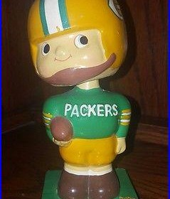 Green Bay Packers Vintage 1960s Bobblehead Nodder Square Base FREE SHIPPING