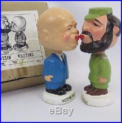 Khrushchev Castro Kissin Kuzzins Nodders 1960s Mache Bobbleheads and Box Vintage