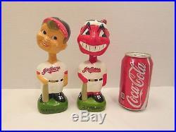 Lot 2 Vintage Baseball Cleveland Indians Bobble Heads Bobbers Nodders Toys Wahoo