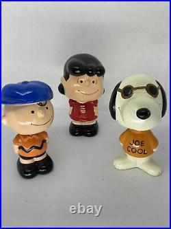 Lot of 3 Vintage Bobblehead Nodders Peanuts Snoopy Joe Cool, Charlie Brown, Lucy