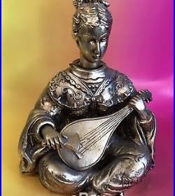 Nodder Bobblehead Ardalt Gold Asian Strumming Musical Mandolin Japan Vtg XXL