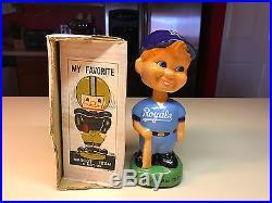 Old Vtg Ceramic 1988 KANSAS CITY ROYALS Bobblehead Boy With Bat in Box