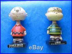 Onr Pair Legos Peanuts Charlie Brown & Linus Vintage Bobblehead Figures (used)