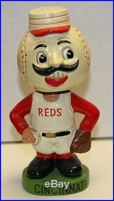 RARE 1960's Cincinnati Reds Mascot Green Base Vintage Bobble Head Nodder