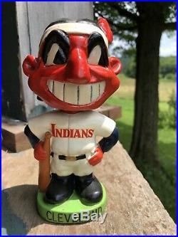 RARE VINTAGE 1960s CLEVELAND INDIANS MASCOT BOBBLE HEAD MLB BASEBALL Chief Wahoo