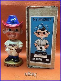 Rare 1960's Vintage Japan MLB TEXAS RANGERS Composition Bobble Head MIB