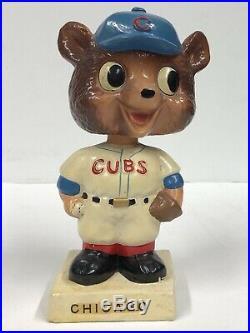 Rare Vintage 60's Chicago Cubs Bobble Head Bear Nodder Square Base 6.5