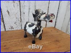 Rustic Industrial Metal Bobble Head Milk Cow Vintage Style Farm Decor JK08