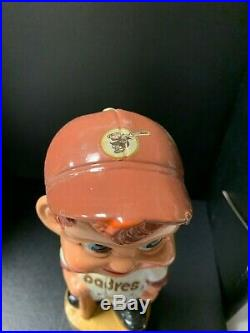San Diego PADRES Vintage Nodder Gold Base Bobblehead Bobbing Bobble Head