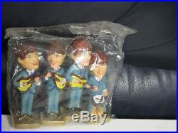THE BEATLES Vintage Cake Topper Decorations Set of 4 Bobbleheads Nodders