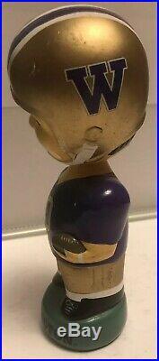 University Of Washington Huskies Vintage Ceramic Bobble Head Football Boy