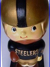 VINTAGE 1960 NFL Pittsburgh Steelers Football Nodder Bobblehead Japan Wood Base