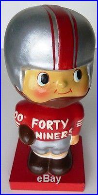 VINTAGE 1960 NFL San Francisco 49er Football Nodder Bobblehead Japan Wood Base