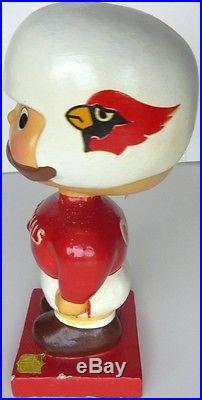 VINTAGE 1960 NFL St Louis Cardinal Football Nodder Bobblehead Japan Wood Base
