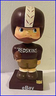 VINTAGE 1960 NFL Wahington Redskins Football Nodder Bobblehead Japan Wood Base