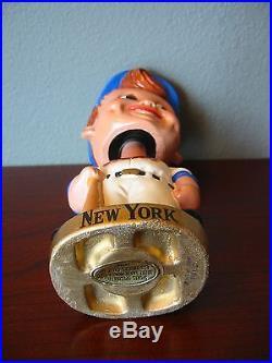 VINTAGE 1960'S NEW YORK METS GOLD BASE BOBBLEHEAD BOBBING NODDER RARE