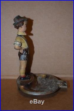 VINTAGE 20's-30's AUSTRIA METAL CAST NODDING BOBBLE HEAD ASHTRAY BOY LEDERHOSEN