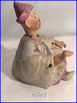 VINTAGE ASIAN ORIENTAL German Bisque Emperor MAN Nodder Bobblehead FIGURE
