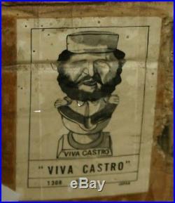 VINTAGE BOBBLEHEAD NODDER VIVA CASTRO on toilet seat IN LITHO BOX