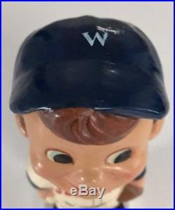 Vintage Japan Washington Senators Hair Swirl Bobblehead White Square Base Rare