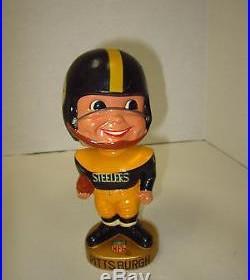 Vintage Pittsburgh Steelers #00 Football Player NFL Bobblehead Nodder Gold Base