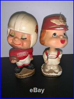 VINTAGE St Louis Cardinals Football Kissing Boy Girl Nodder Set Bobblehead