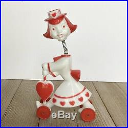 VTG 1950's Rosbro Rosen Hard Plastic Valentine Bobble Head Girl On Wheels Mcm