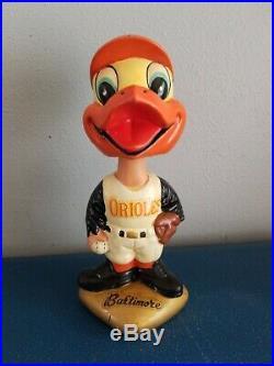 VTG 1960s Baltimore Orioles mascott bird bobbing head nodder doll gold base