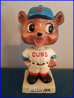 VTG 1960s Chicago cubs bear mascot bobbing head nodder doll white base